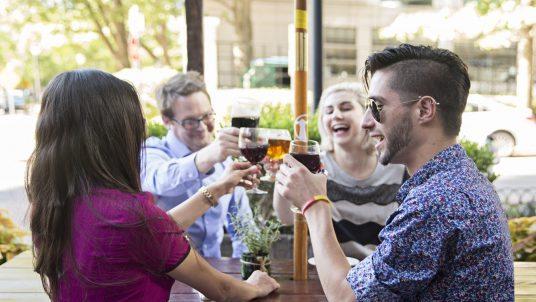 People drinking outside